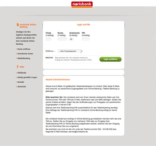 Norisbank Online Banking